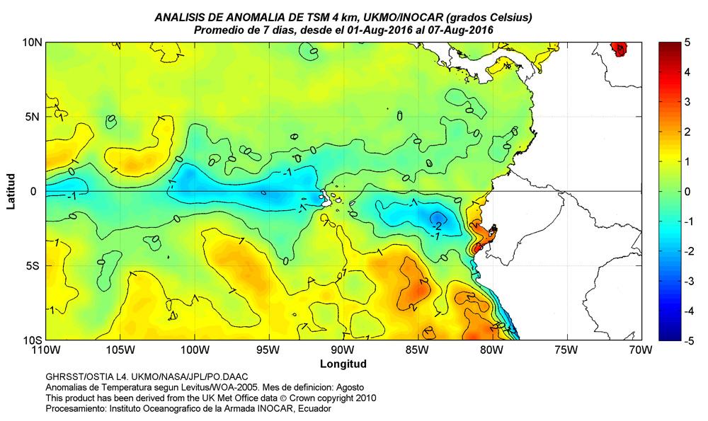 Fig. 4. Anomalía termicas (°C) en la costa y Galápagos. http://www.inocar.mil.ec/img/TSM/ATSM/ATSM_20160801_20160807.jpg