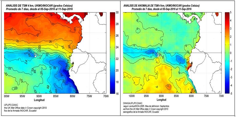 Fig. 2. Distribucion de Temperatura superficial y su anamolía en aguas marinas ecuatorianas (área Niño 1-2).
