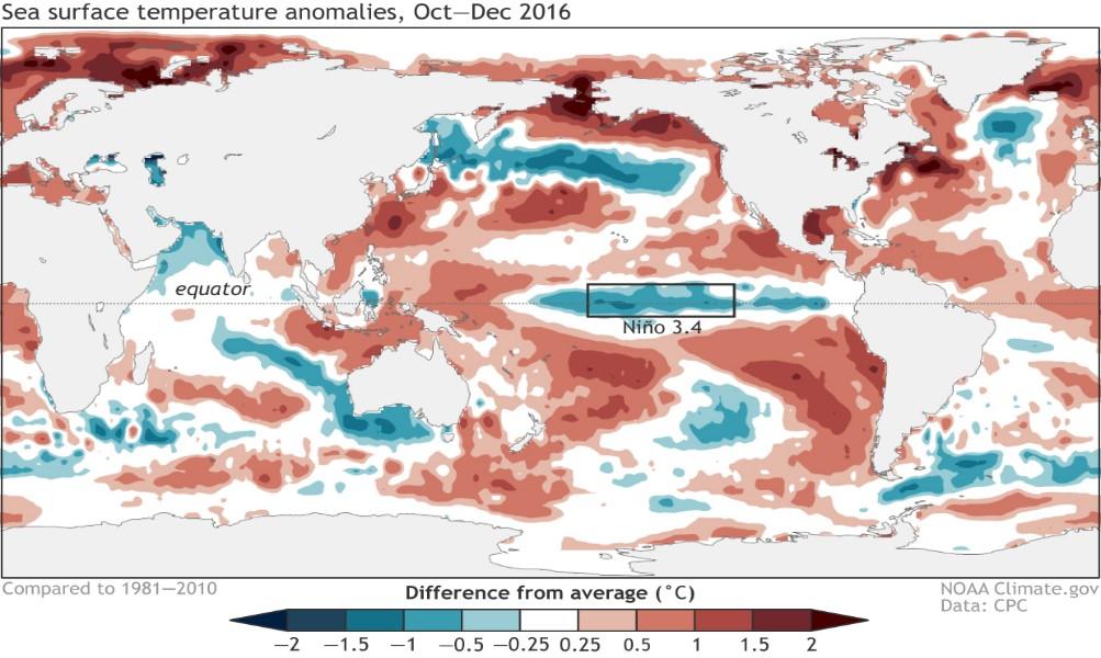 Fig. 1. Distribución de TSM en el Océano Pacífico. https://www.climate.gov/sites/default/files/SST-Anomaly-OND2016_1240.png