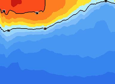 Anomalías negativas de temperatura en la columna de agua del Pacifico ecuatorial.