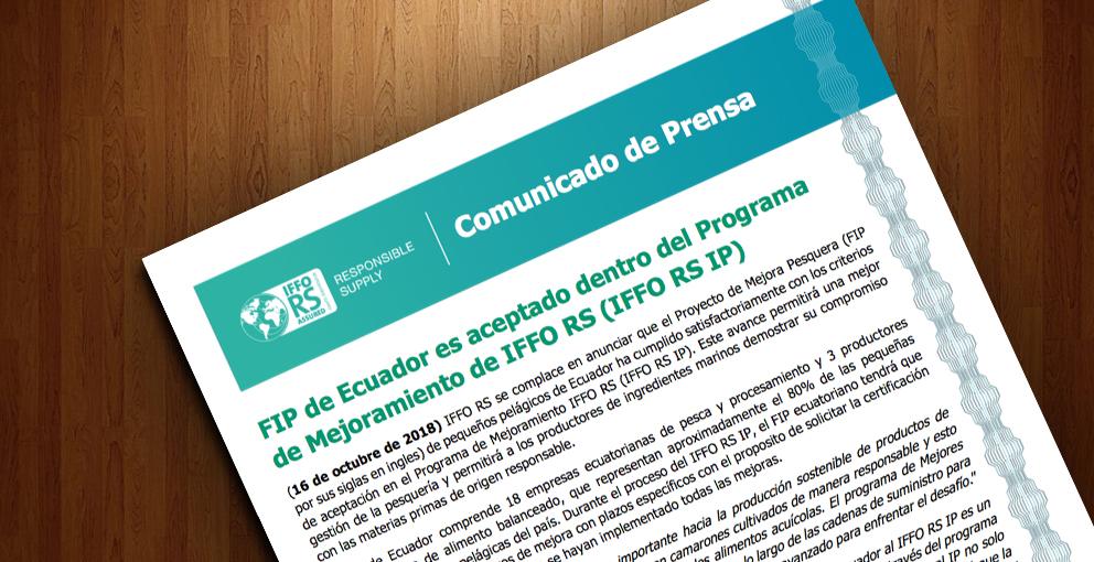 Comunicado de Prensa – FIP de Ecuador es aceptado dentro del Programa de Mejoramiento de IFFO RS (IFFO RS IP) –