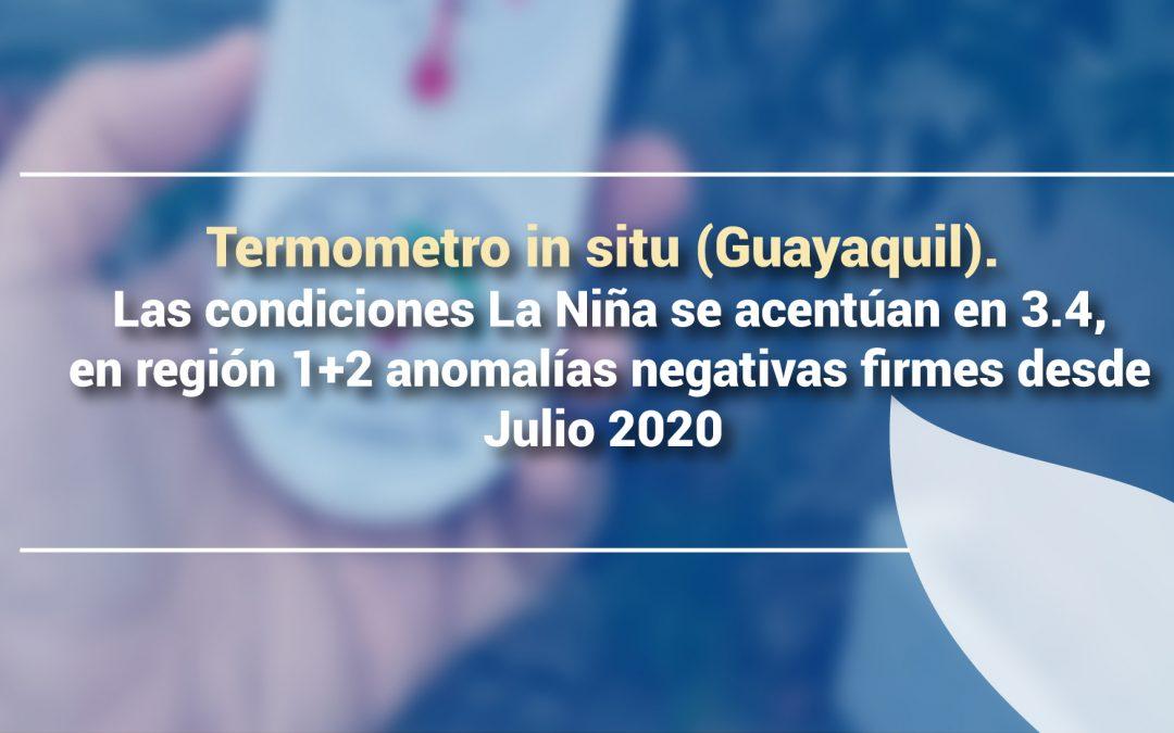 Las condiciones La Niña se acentúan en 3.4, en región 1+2 anomalías negativas firmes desde Julio 2020